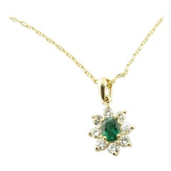 14 Karat Yellow Gold Emerald and Diamond Pendant Necklace
