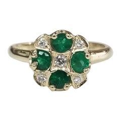 14 Karat Yellow Gold Emerald and Diamond Ring Art Deco Style Ring