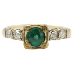 14 Karat Yellow Gold Emerald and Diamond Ring Containing