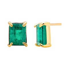 14 Karat Yellow Gold Emerald Cut Colombia Emerald Bezel Set Stud Earrings