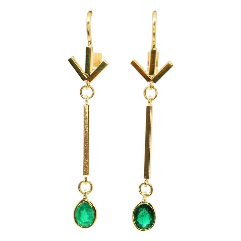 14 Karat Yellow Gold Emerald Drop Earrings For Sale