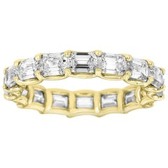 14 Karat Yellow Gold Emerald Eternity Diamond Ring '3 3/4 Carat'