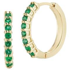 14 Karat Yellow Gold Emerald Huggies