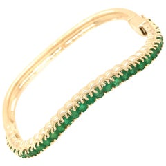 14 Karat Yellow Gold Emerald Nesting Bangle Bracelet