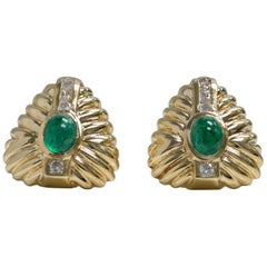 14 Karat Yellow Gold Emerald Pair of Earrings with Diamonds