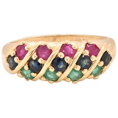 14 Karat Yellow Gold Emerald, Sapphire, and Ruby Ring