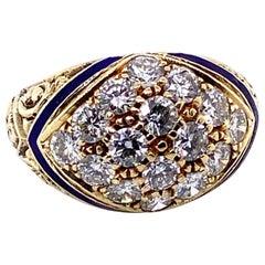 14 Karat Yellow Gold, Enamel and Diamond Engraved Dress Ring