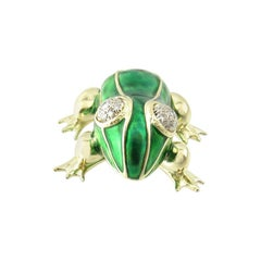 14 Karat Yellow Gold, Enamel and Diamond Frog Pin or Brooch