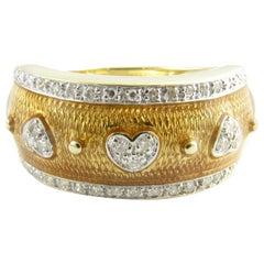 14 Karat Yellow Gold Enamel and Diamond Ring