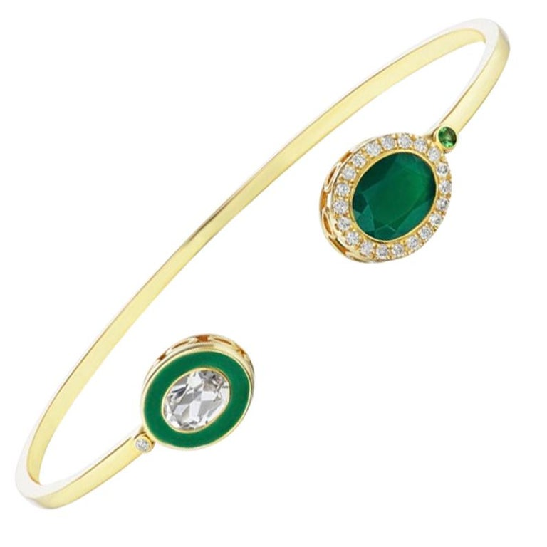 14 Karat Yellow Gold, Enamel, Green Onyx, White Topaz and Diamond Cuff Bracelet For Sale