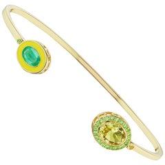 14 Karat Yellow Gold, Enamel, Lemon Citrine and Emerald Cuff Bracelet