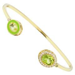 14 Karat Yellow Gold, Enamel, Peridot and Diamond Cuff Bracelet