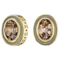 14 Karat Yellow Gold Enamel Smokey Topaz Stud Earring