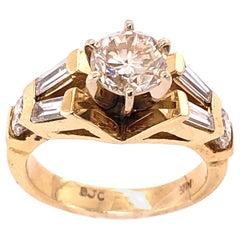 14 Karat Yellow Gold Engagement Ring 1.50 Total Diamond Weight