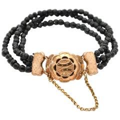 14 Karat Yellow Gold Black Jet Bracelet