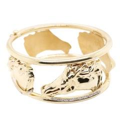 14 Karat Yellow Gold Equine Lovers Bracelet with Diamonds