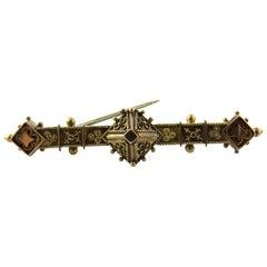 14 Karat Yellow Gold Etruscan Revival Pin Brooch