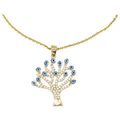 14 Karat Yellow Gold Evil Eye Tree Pendant Diamond Charm For Gift Ready to Ship
