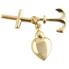 14 Karat Yellow Gold Faith, Hope and Charity Charm