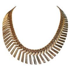 14 Karat Yellow Gold Fancy Fringe Collar Necklace