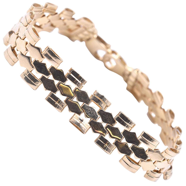 fd201654312 14 Karat Yellow Gold Fancy Link Bracelet at 1stdibs