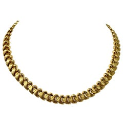 14 Karat Yellow Gold Fancy Link Wave Design Necklace