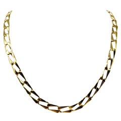 14 Karat Yellow Gold Fancy Rectangle Curb Link Necklace