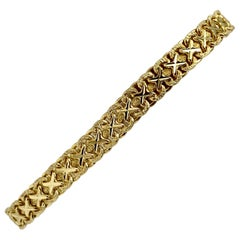 14 Karat Yellow Gold Fancy X Link Bracelet