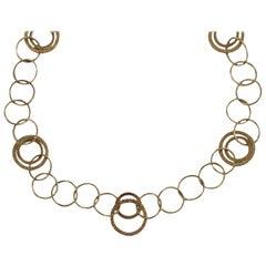 14 Karat Yellow Gold Fashion Circle Chain Necklace