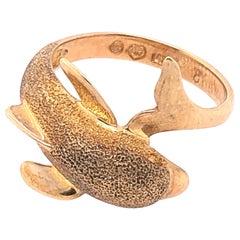14 Karat Yellow Gold Fashion Dolphin Ring