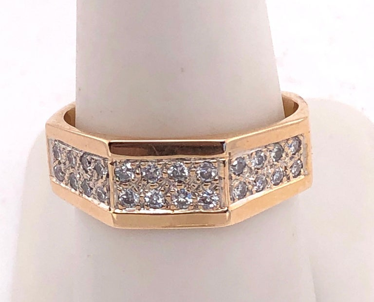 14 Karat Yellow Gold Fashion Ring with Diamonds For Sale 5