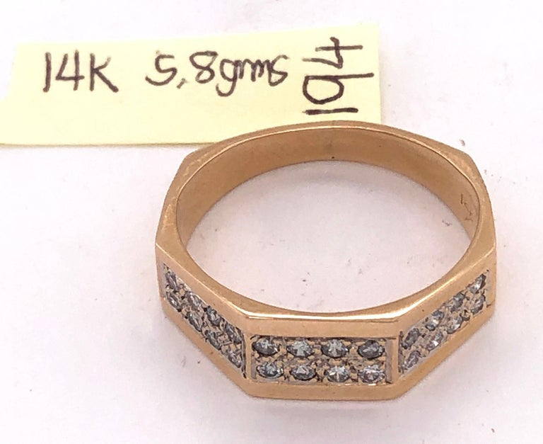 14 Karat Yellow Gold Fashion Ring with Diamonds For Sale 6