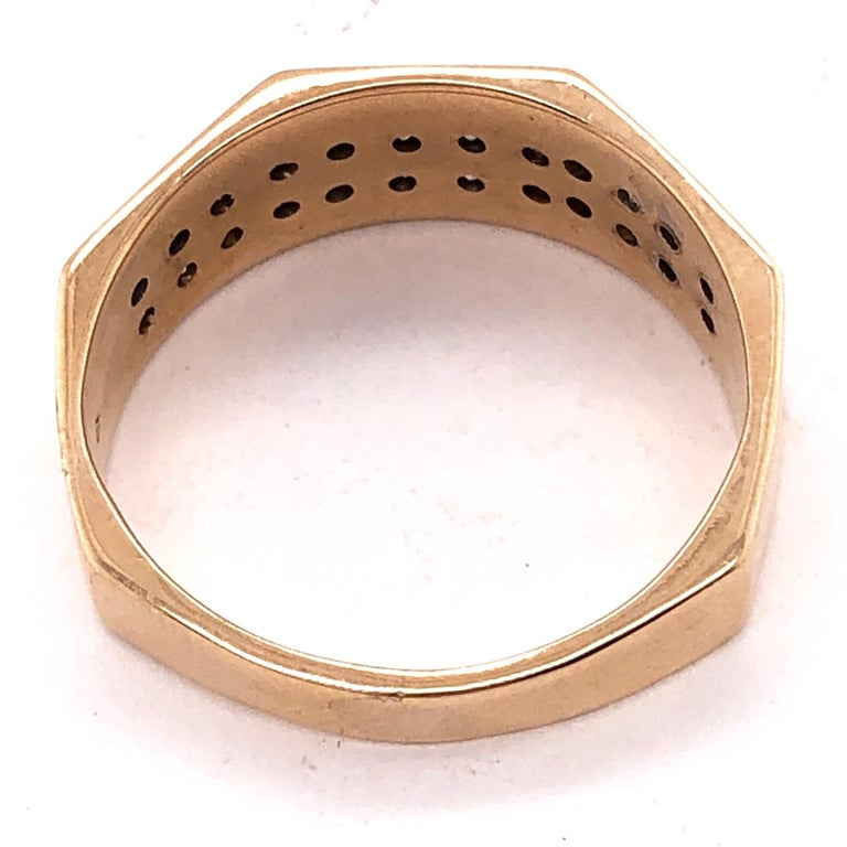 14 Karat Yellow Gold Fashion Ring with Diamonds For Sale 8