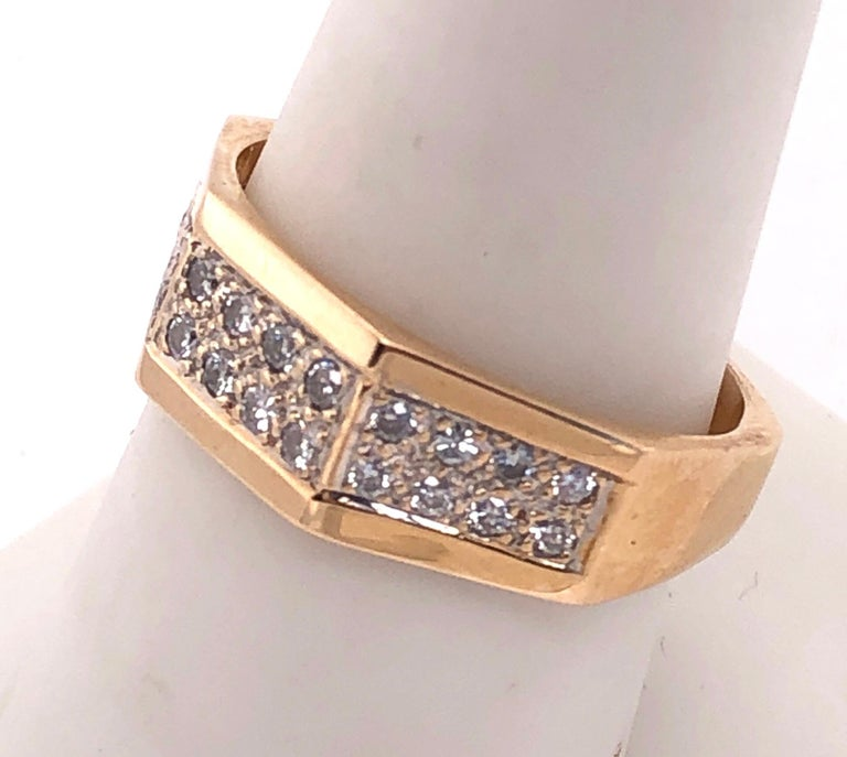 14 Karat Yellow Gold Fashion Ring with Diamonds For Sale 1