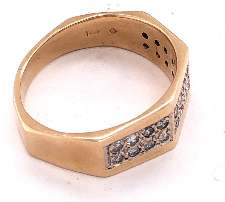 14 Karat Yellow Gold Fashion Ring with Diamonds For Sale 3