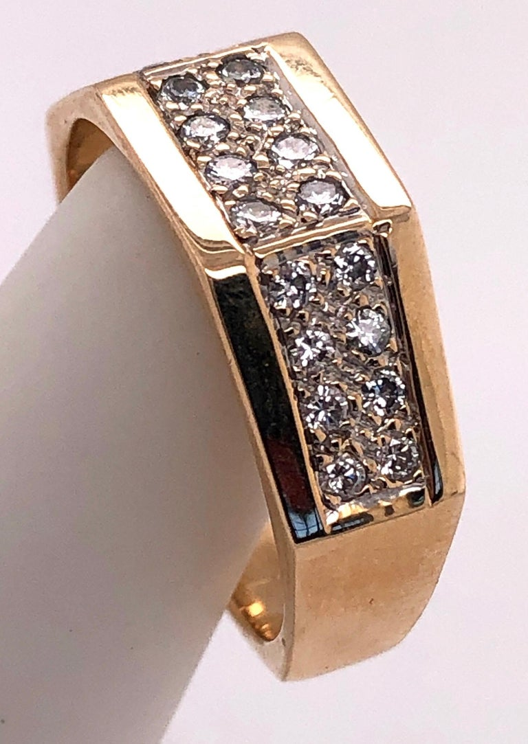14 Karat Yellow Gold Fashion Ring with Diamonds For Sale 4