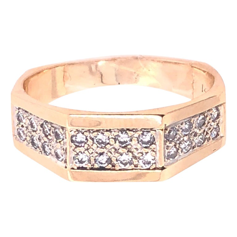 14 Karat Yellow Gold Fashion Ring with Diamonds For Sale