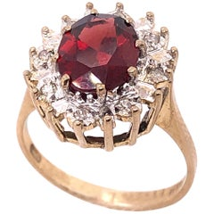 14 Karat Yellow Gold Fashion Ring with Ruby and Diamonds