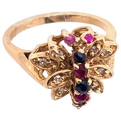 14 Karat Yellow Gold Fashion Ring with Sapphire Ruby and Diamond Cluster