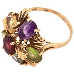 14 Karat Yellow Gold Fashion Ring with Semi Precious Stone Floral Cluster