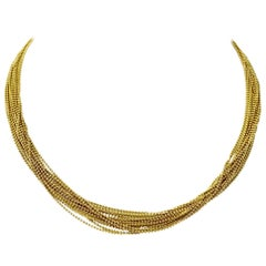 14 Karat Yellow Gold Fifteen-Strand Bead Link Necklace