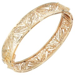 14 Karat Yellow Gold Filigree Bangle Bracelet