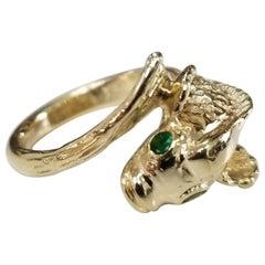 "14 Karat Yellow Gold ""Fish"" Ring with Emerald Eyes"