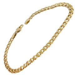 14 Karat Yellow Gold Flat Curb Link Bracelet
