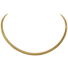 14 Karat Yellow Gold Flex Braided Weave Necklace