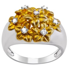14 Karat Yellow Gold Flower and Diamond on 14 Karat White Band