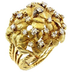 14 Karat Yellow Gold Flower and Leaf Design Diamond Cocktail Ring