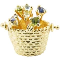 14 Karat Yellow Gold Flower Basket Charm