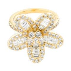 14 Karat Yellow Gold Flower Diamond Ring