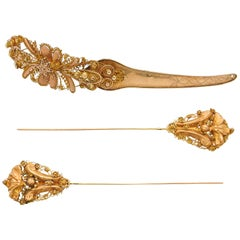 14 Karat Yellow Gold Forehead Needle and Hat Pin Accessories